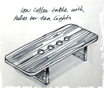 Garden furniture - rustic coffee table with tea lights