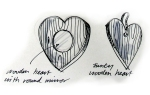 Chunky wooden heart mirror and hearts 100% recycled wood - eco garden furniture