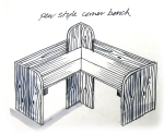 Eco friendly pew bench garden furniture