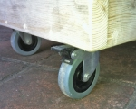 wooden planter with wheels