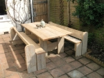 Refectory style table with two pew benches (6ft x 3 ft table, 6 ft benches).